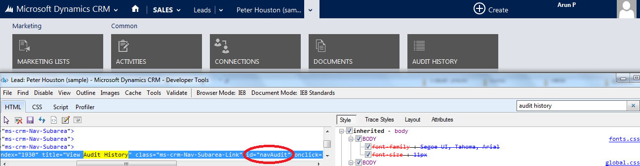 Show/Hide Navigation Using JScript in CRM | Arun Potti's MS CRM blog