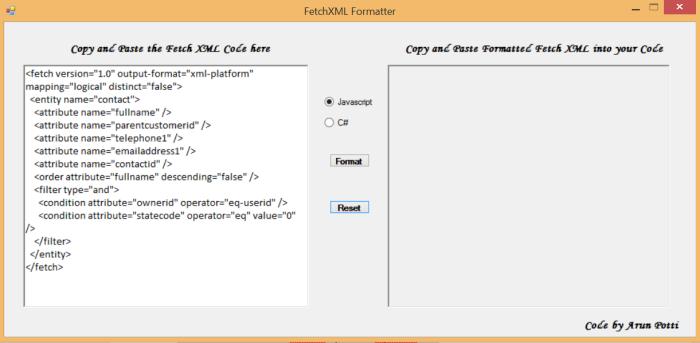 FetchXMLFormatter - Pic 2