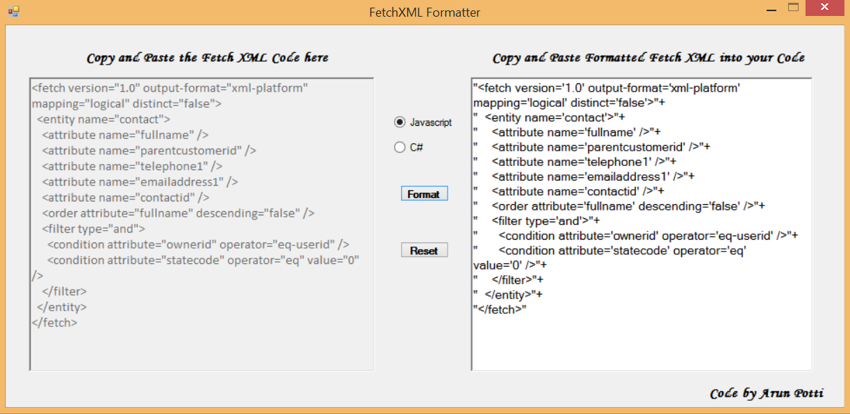 FetchXML Formatter Tool | Arun Potti's MS CRM blog