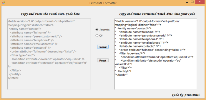 FetchXMLFormatter - Pic 3