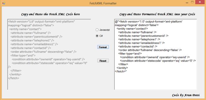 FetchXMLFormatter - Pic 4