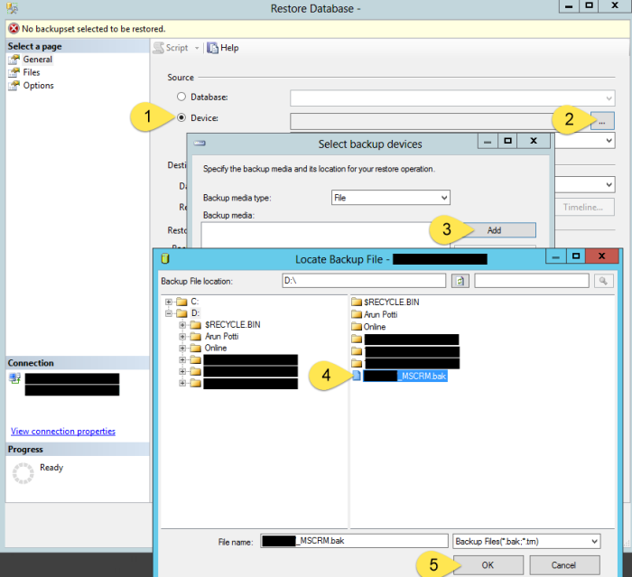 Import CRM Organization - Locate BAK Data file