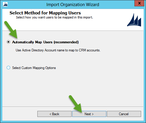 Import CRM Organization - Map Users Automatically
