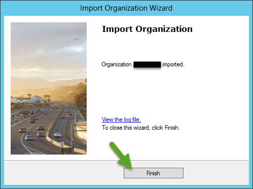Import CRM Organization - Organization created Succesfully