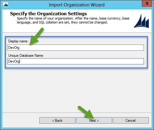 Import CRM Organization - Provide CRM Organization Name