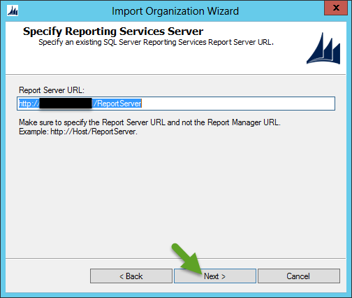 Import CRM Organization - Provide CRM Report Server URL