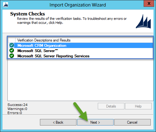 Import CRM Organization - System Checks