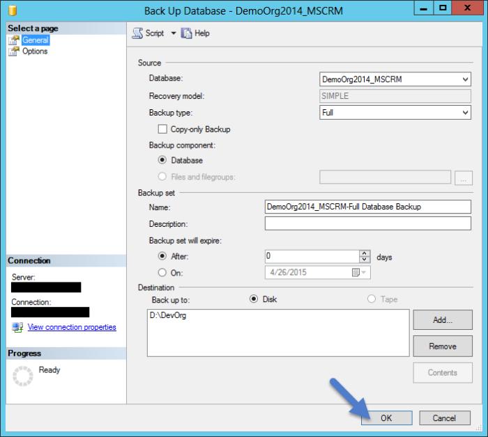 Start Database Backup