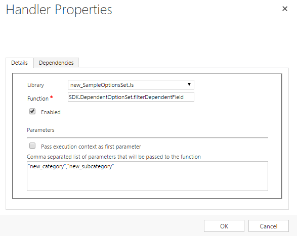 Add Parameters to Sample Option Set On Category