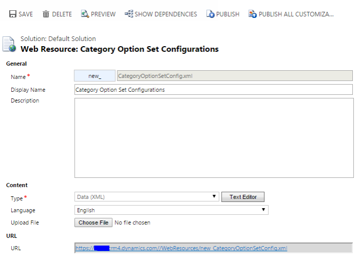 Category Option Set Configurations XML