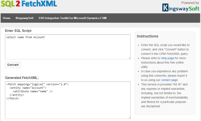 SQL2FetchXML