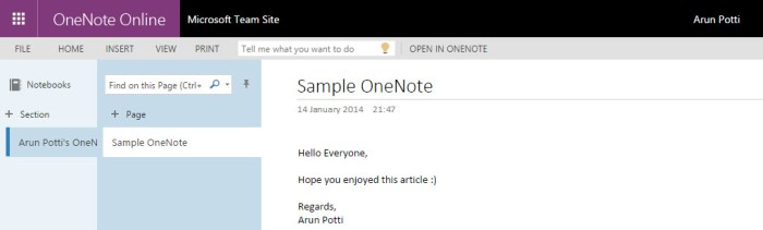 Sample OneNote