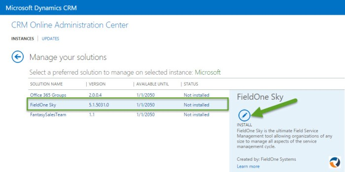 FieldOne Sky - CRM Onlie Administration Center - Manage your solutions