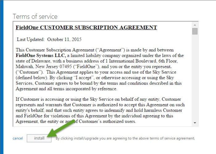 FieldOne Sky - Terms of service