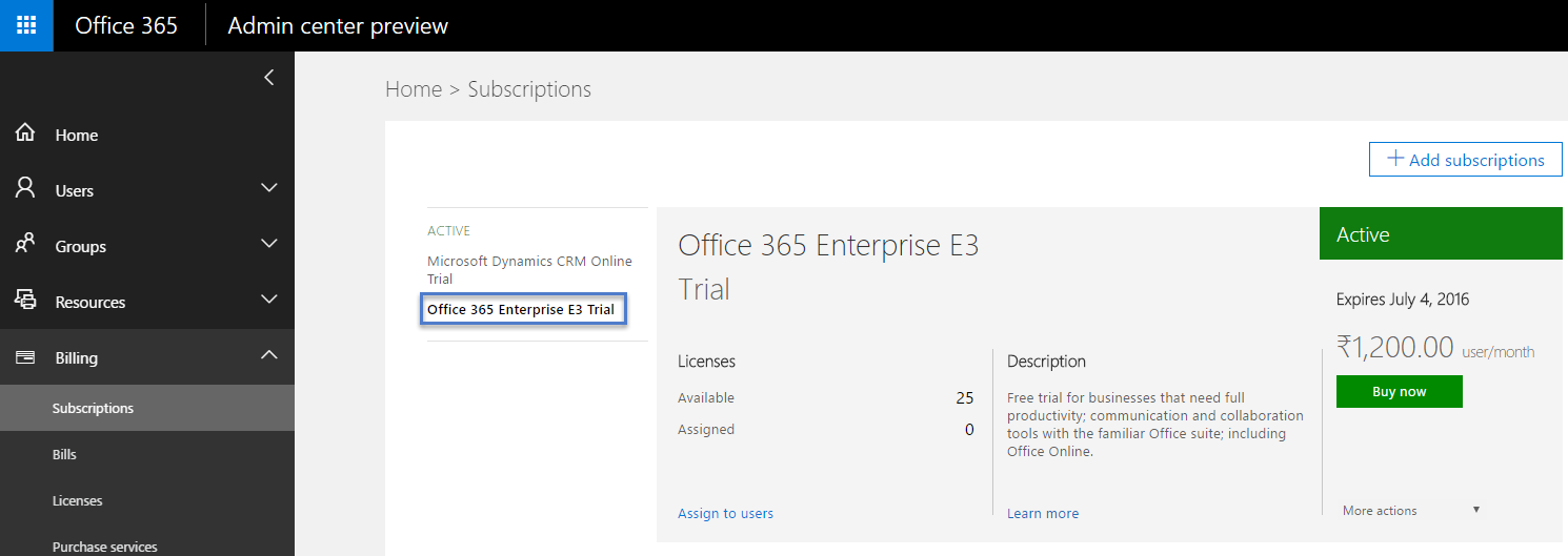 99.Office 365 Enterprise E3 Trial