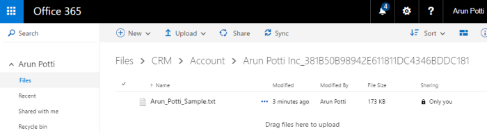 Attachment in OneDrive for Business