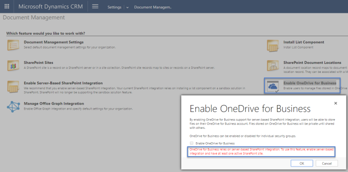 Enable OneDrive