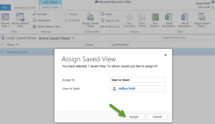 Important Leads - Assign Saved View - User or team