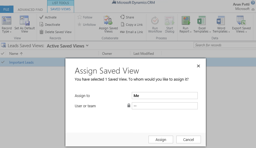Important Leads - Assign Saved View