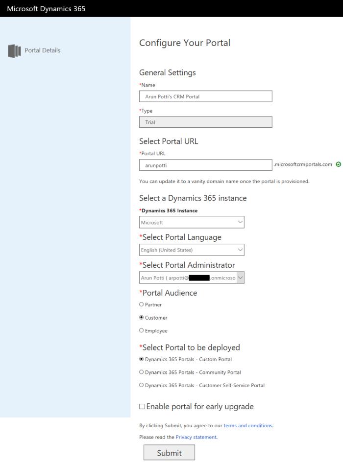 Dynamics 365 Portal Details