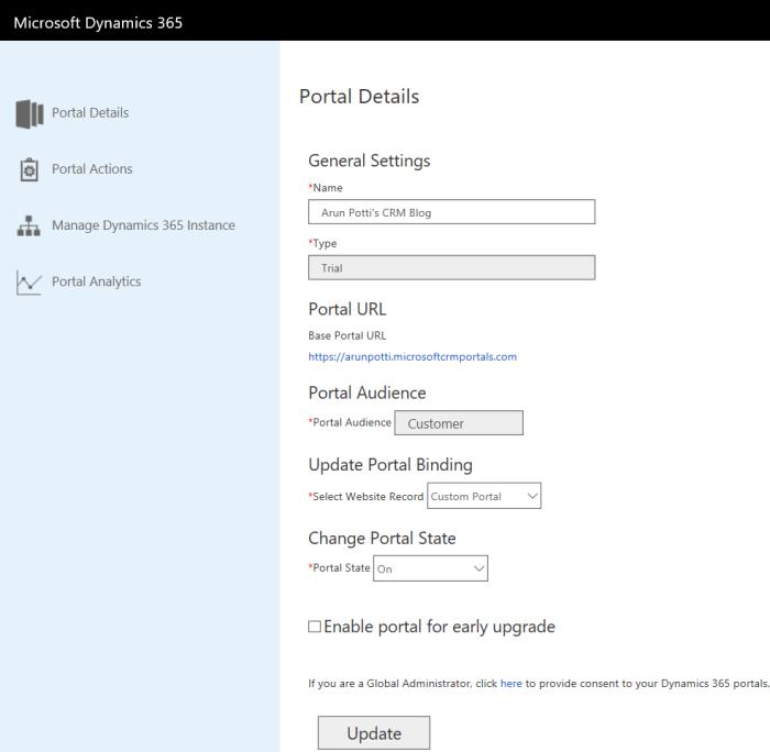Dynamics 365 Portal - Portal Created