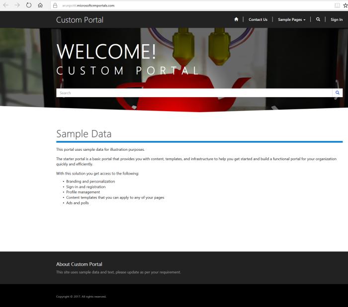 Dynamics 365 Portal - Portal Home Page