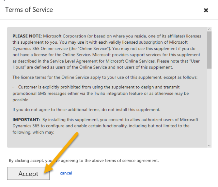 Dynamics 365 Portal - Terms of Service