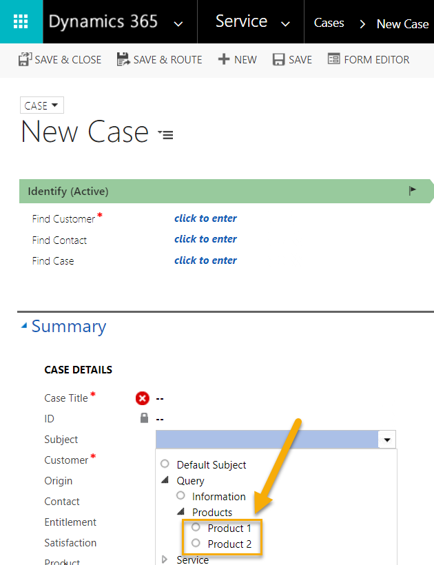 Case Subject