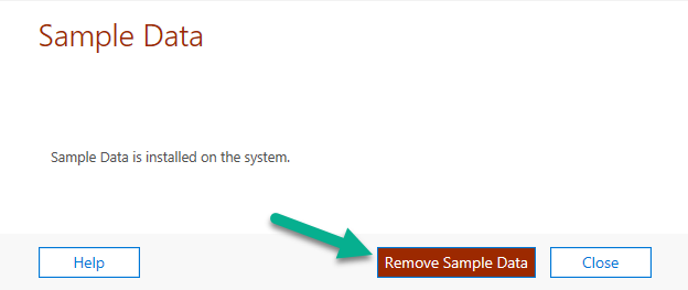 Remove Sample Data