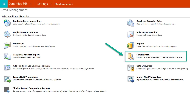 Sample Data Settings Under Data Management