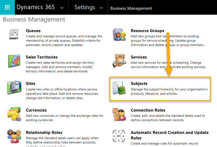 Settings - Subjects - Business Management Setting
