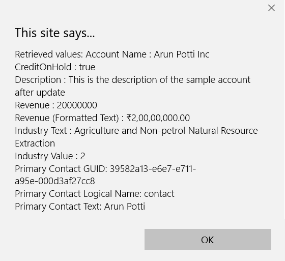 Dynamics 365 Retrieve Record V9.X