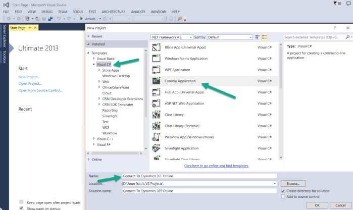 Connect to Dynamics 365 Online - Step1 Open Visual Studio