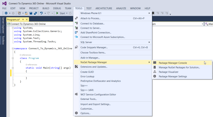 Connect to Dynamics 365 Online - Step2 Open Package Manager Console