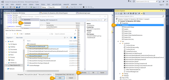 Connect to Dynamics 365 Online - Step5 Add CRM and Xrm SDK Dlls