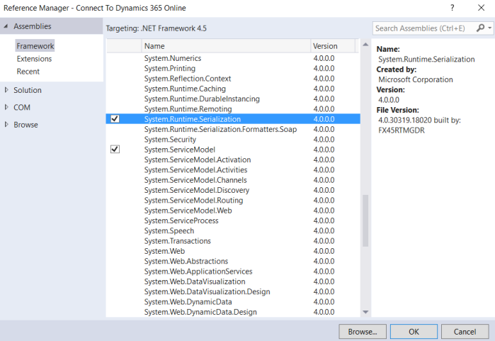 Connect to Dynamics 365 Online - Step5 Add Runtime and Service Model References