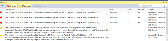 Connect to Dynamics 365 Online - Step8 Build issues