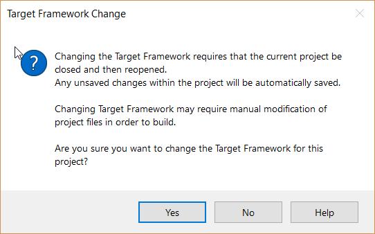 Connect to Dynamics 365 Online - Target Framework Change Message