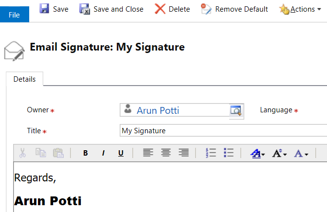 Email Signatures - Remove Default