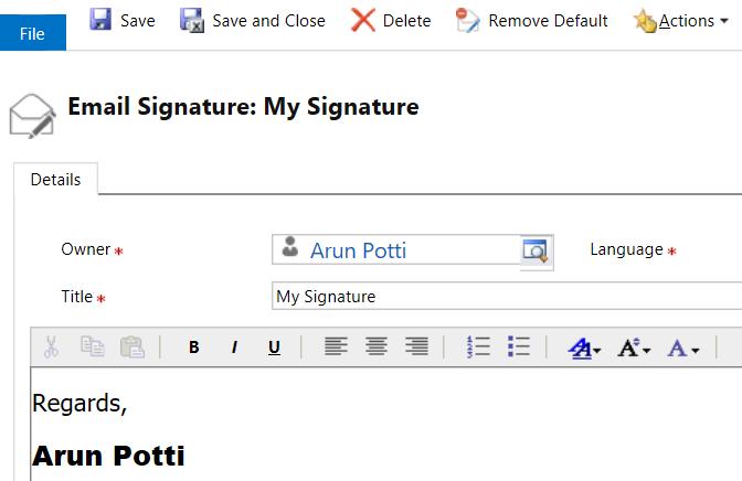 Email Signatures - Remove Default