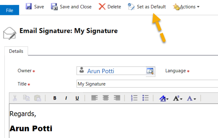 Email Signatures - Save Signature