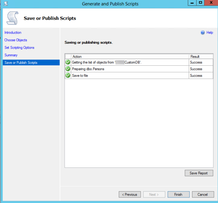 SQL Server - Generate and Publish Scripts - Save or Publish Scripts