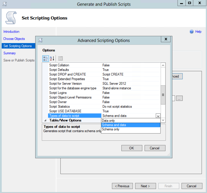 SQL Server - Generate and Publish Scripts - Set Scripting Options - Advanced Scripting Options