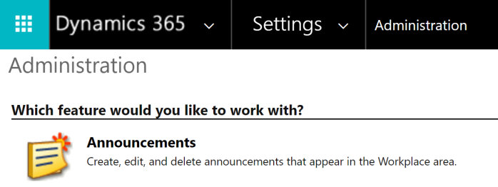 Announcements under Settings