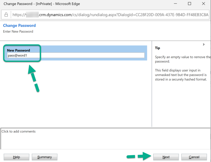 Dynamics 365 Portal - Change Password - Dialog - Screen 1