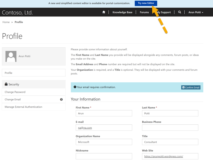 Web Portal - Admin Login - Try new Editor